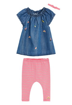DENIM 3 PIECE EMBROIDERED SET (0-18MTHS) - Legging - blue