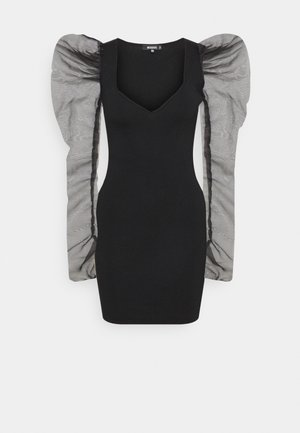 COSTELLO SLEEVE MINI DRESS - Gebreide jurk - black