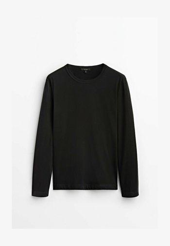 MIT RUNDHALSKRAGEN - Long sleeved top - black