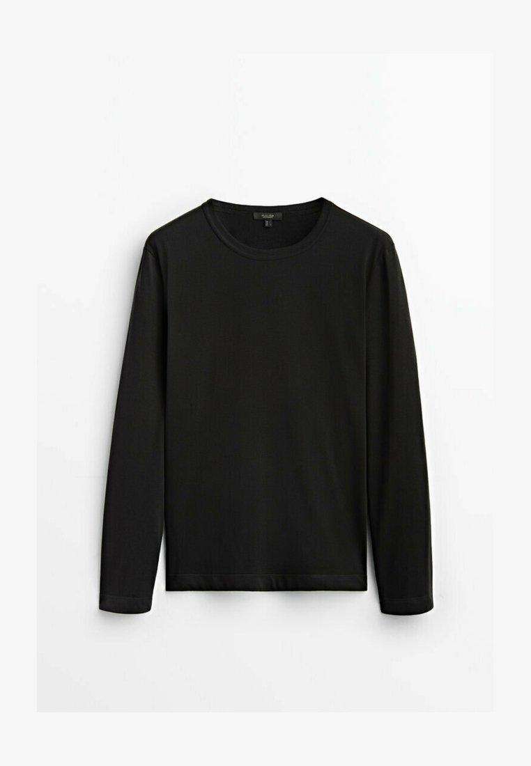 Massimo Dutti - MIT RUNDHALSKRAGEN - Long sleeved top - black