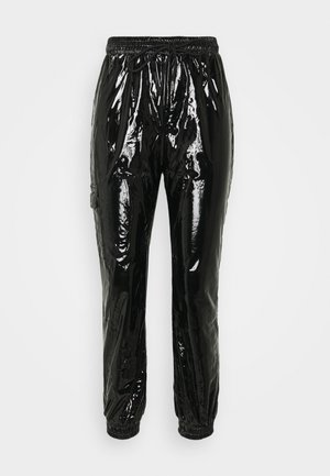 VINYL PANTS - Trousers - blac