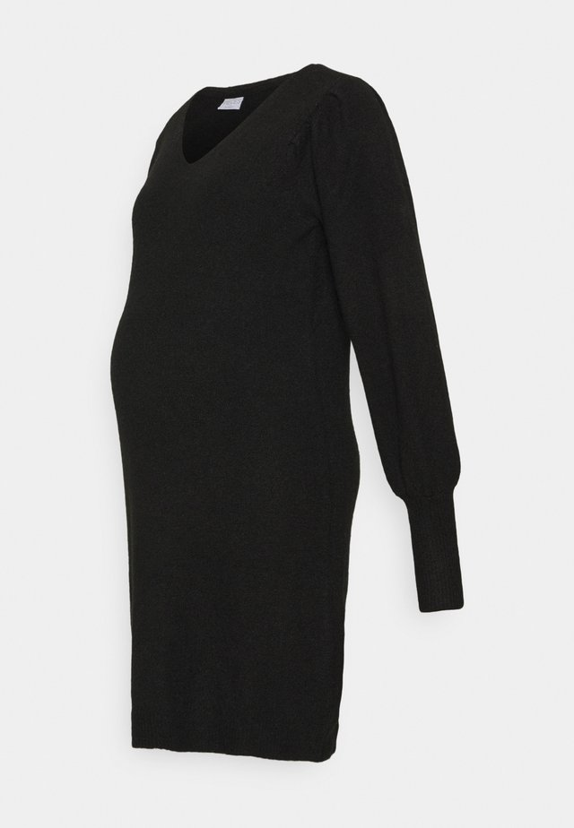 PCMPAM VNECK DRESS - Sukienka dzianinowa - black