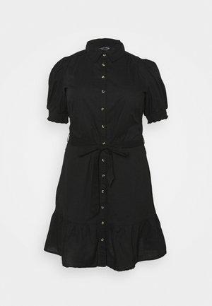 DAISY PUFF SLEEVE SHIRT DRESS - Sukienka koszulowa - black