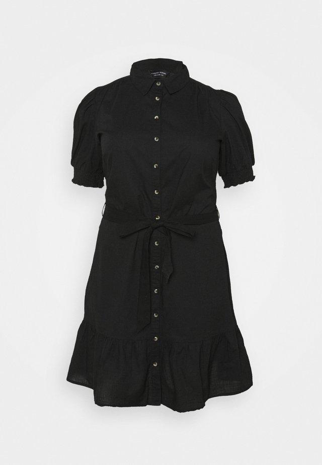 DAISY PUFF SLEEVE SHIRT DRESS - Shirt dress - black