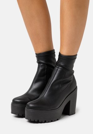SOCK BOOT - High heeled ankle boots - black