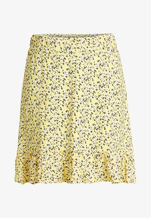 MET BLOEMENDESSIN - A-lijn rok - light yellow