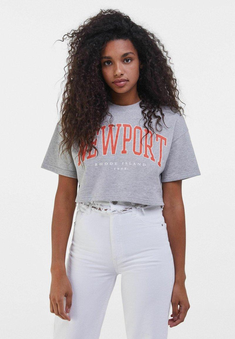 Bershka - MIT PRINT - Print T-shirt - light grey