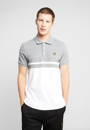 PANEL STRIPE - Poloshirts - mid grey marl/white