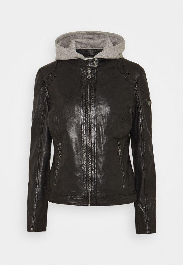 ANGY - Leather jacket - black