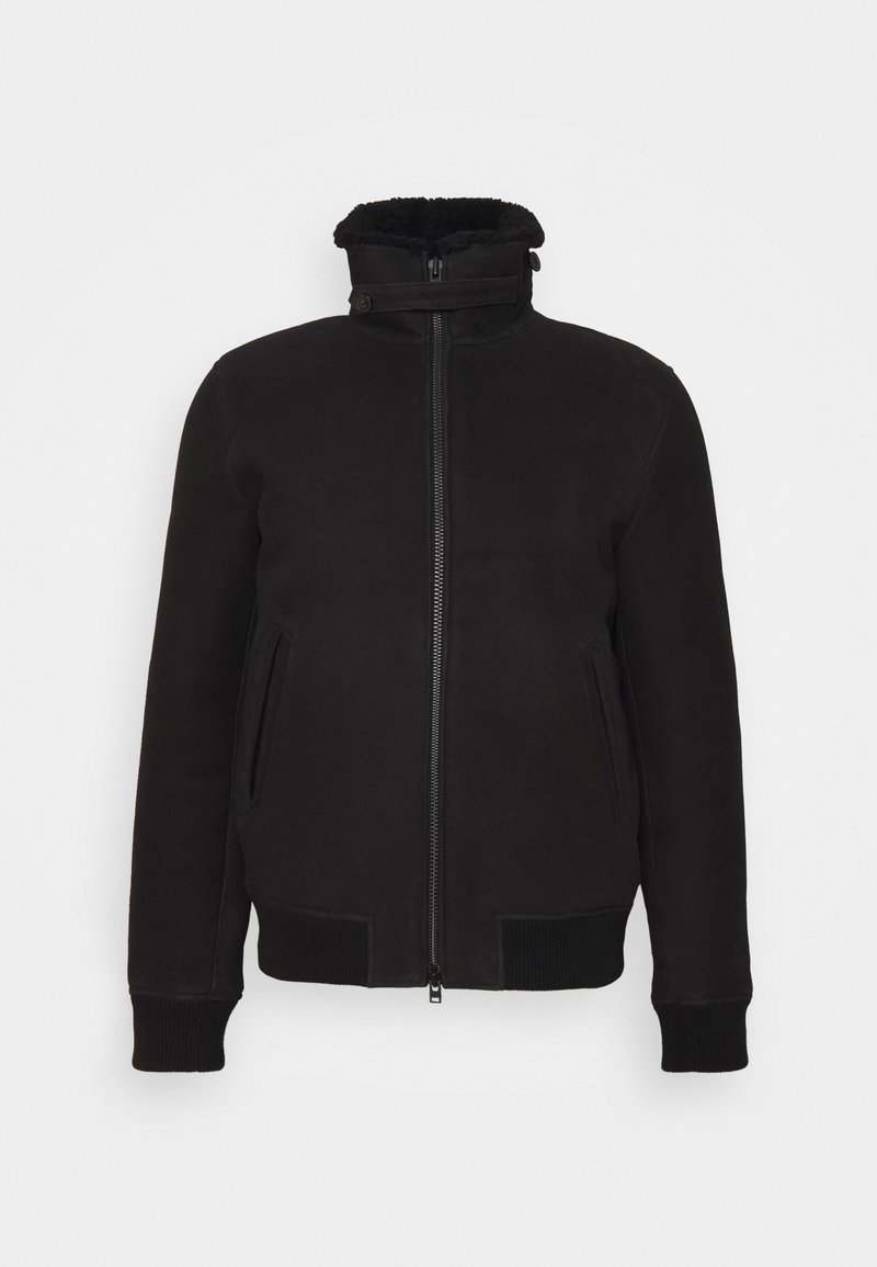 CLOSED - SHEARLING BOMBER - Leather jacket - black