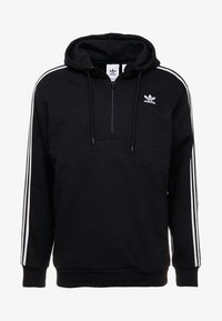 adidas Originals - ADICOLOR 3 STRIPES HALF-ZIP HOODIE - Hoodie - black - 4