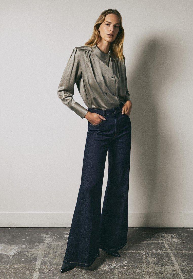 Massimo Dutti - Button-down blouse - silver