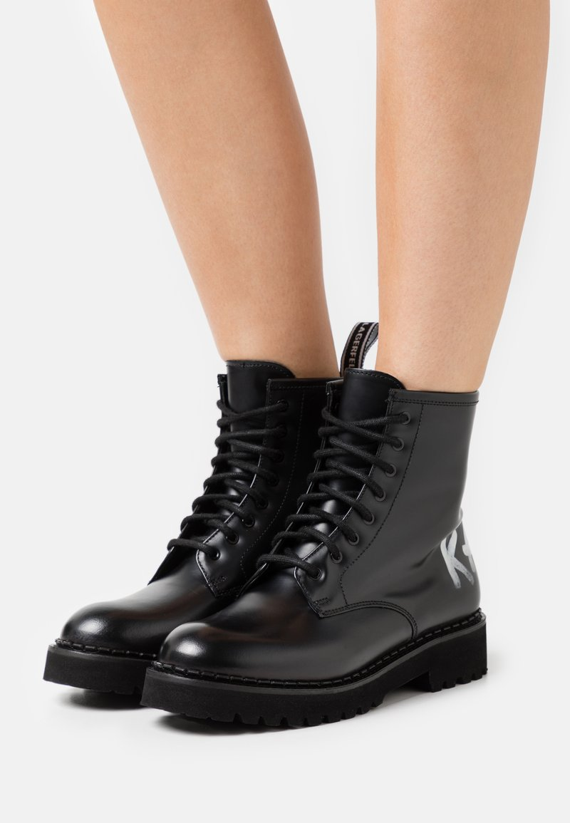 KARL LAGERFELD - TROUPE BRUSH LOGO BOOT HI - Lace-up ankle boots - black
