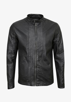 MOCK BIKER - Leather jacket - black