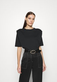 Selected Femme - SLFOLINE PADDED TEE  - Print T-shirt - black - 0