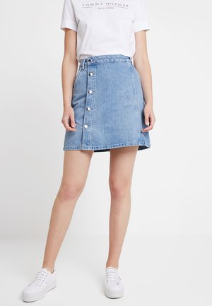 WRAP SKIRT DELIA - A-Linien-Rock - blue denim