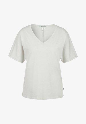 MIT V AUSSCHNITT - Basic T-shirt - white melange