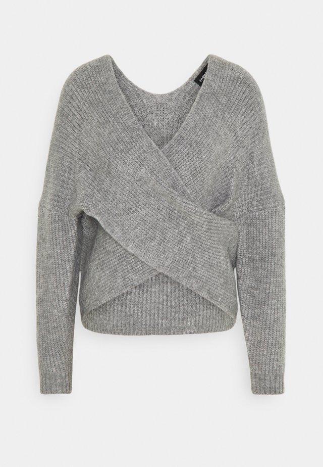 CROSS FRONT BARDOT - Sweter - mid grey melange