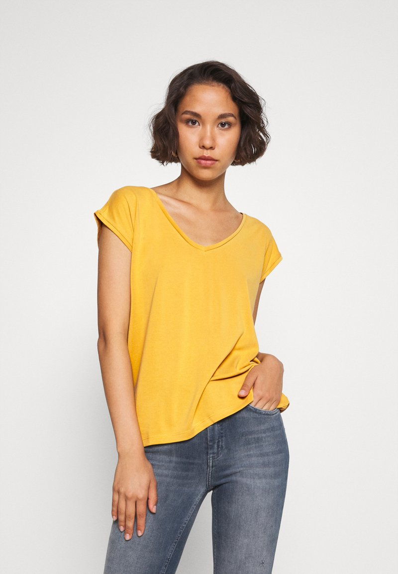 Pieces - PCKAMALA TEE - Camiseta básica - nugget gold