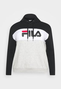 LORI HOODY - Mikina s kapucí - black/light grey melange/bright white