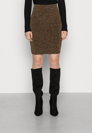 VIAMELIA GLITTER SKIRT - Mini skirt - black/gold