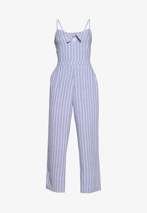 TIE FRONT - Jumpsuit - blue/white