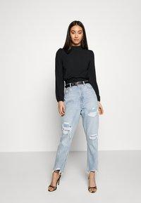 New Look - CARLEY RIB TIE TOP - Blouse - black - 1
