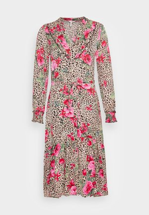DRESS SMOCKED CUFF TIGER ROSE - Skjortekjole - multi-coloured