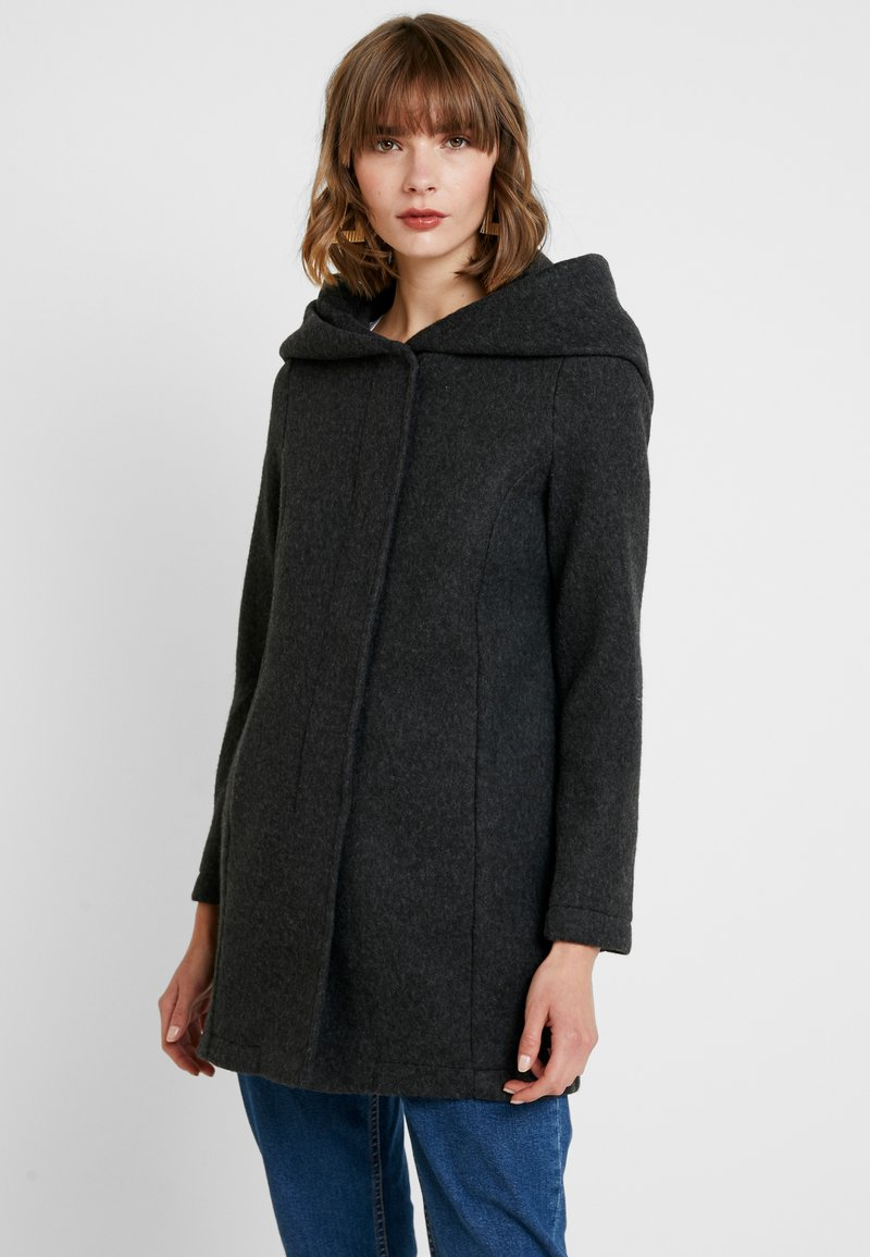 Vero Moda - VMBRUSHEDVERODONA - Krátký kabát - dark grey melange