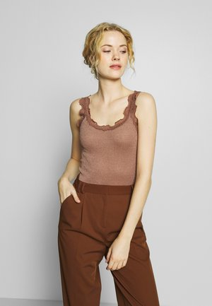 SILK-MIX TOP REGULAR W/VINTAGE LACE & LUREX - Topper - acorn shine