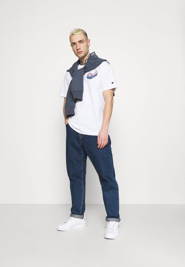 Champion Rochester CREWNECK - T-shirt z nadrukiem - white/szary Odzież Męska JAPD