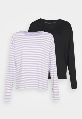 2 PACK - Long sleeved top - lilac purple/black solid