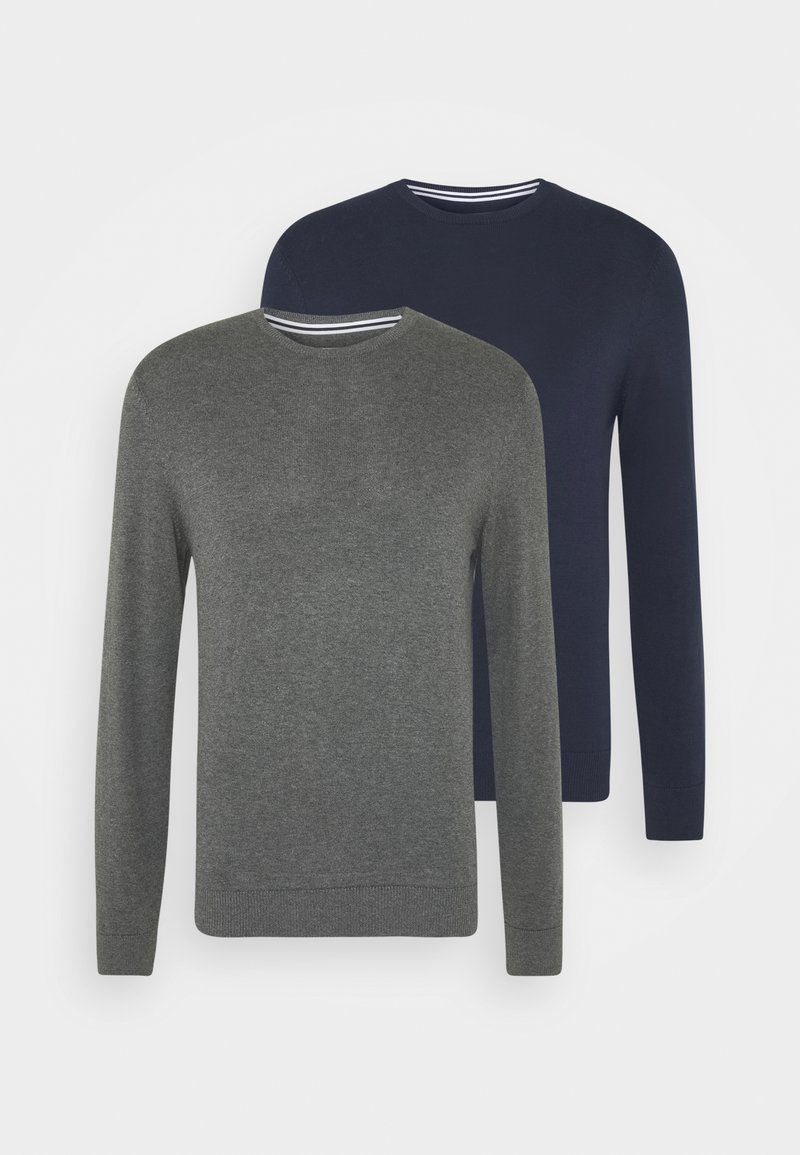 Pier One - 2 PACK  - Stickad tröja - dark blue/mottled dark grey
