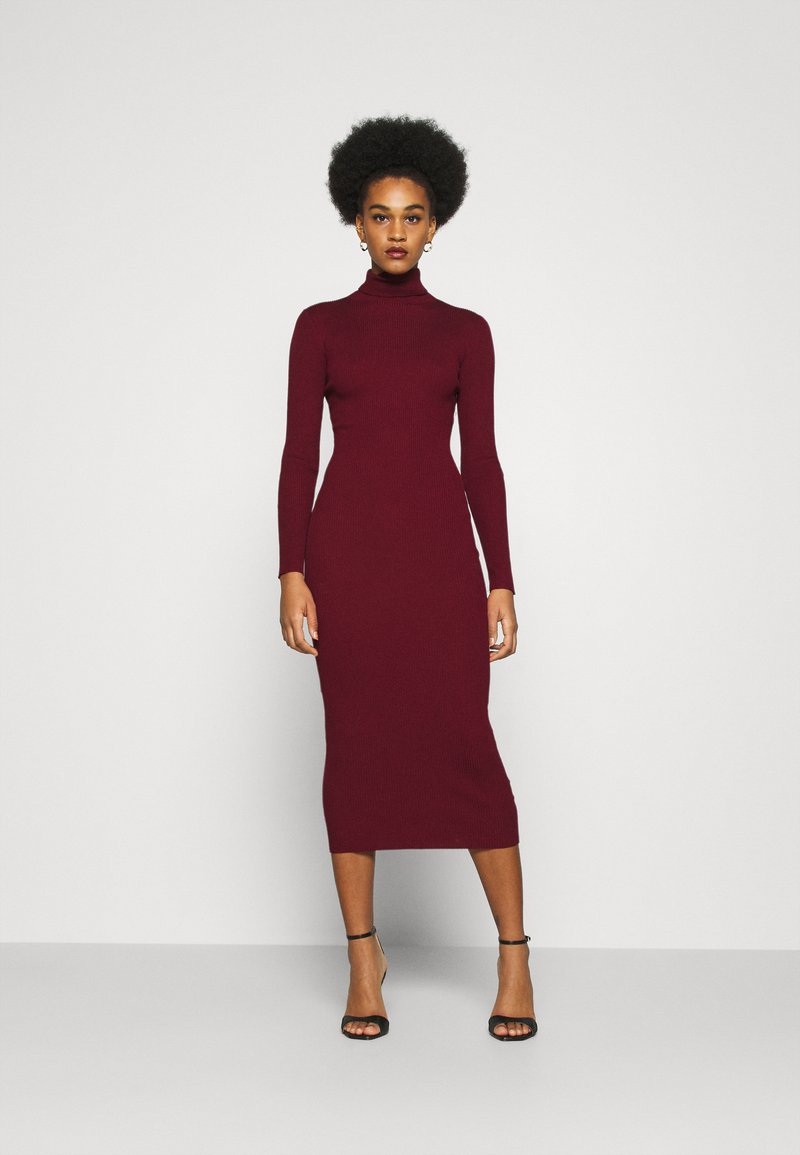 Missguided - ROLL NECK MIDI DRESS - Gebreide jurk - deeper red