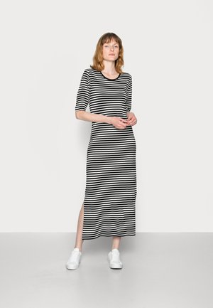 DRESS CREW NECK SHORT SLEEVE LOOSE STRIPE - Jersey dress - black