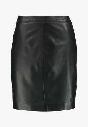 OBJCHLOE SKIRT - Leather skirt - black