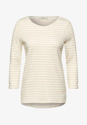 DOUBLEFACE STREIFEN SHIRT - Long sleeved top - beige