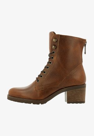Lace-up ankle boots - cognac