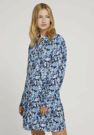 Shirt dress - blue flower print