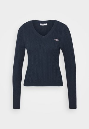 CABLE ICON VNECK - Jumper - navy