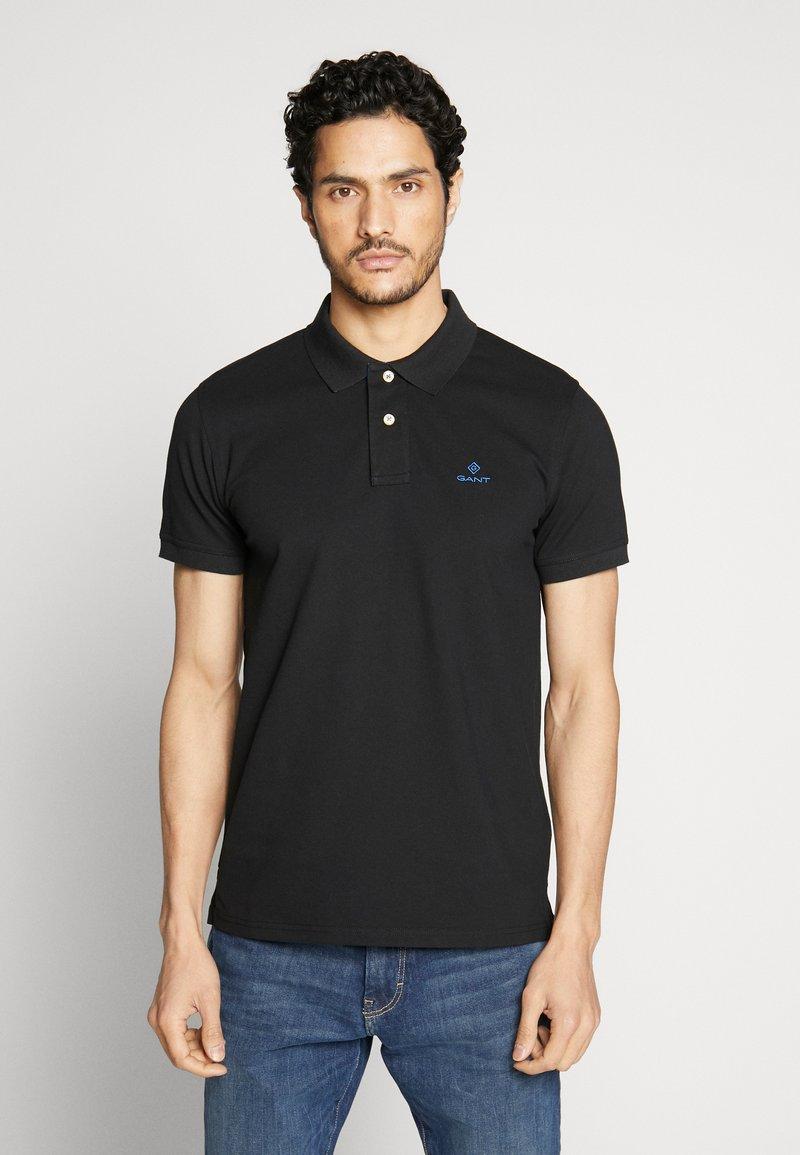 GANT - CONTRAST COLLAR RUGGER - Polo shirt - black