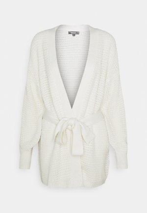 RECYCLED WAFFLE STITCH BELTED  - Chaqueta de punto - stone