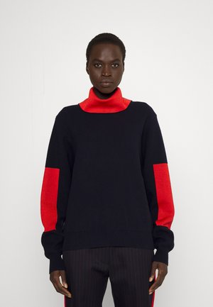 ELBOW PATCH HIGH NECK JUMPER - Jumper - navy/bright red