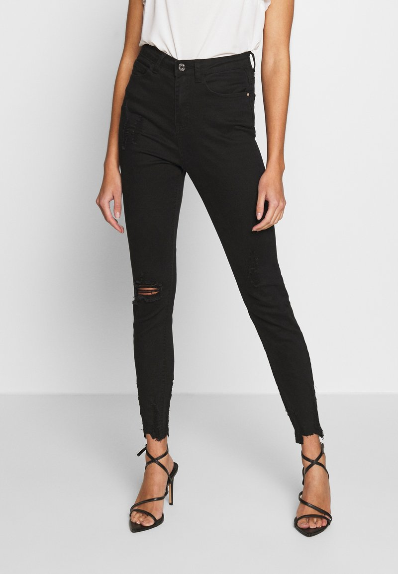 Missguided - SINNER HIGHWAISTED DESTROYED - Jeans Skinny Fit - black