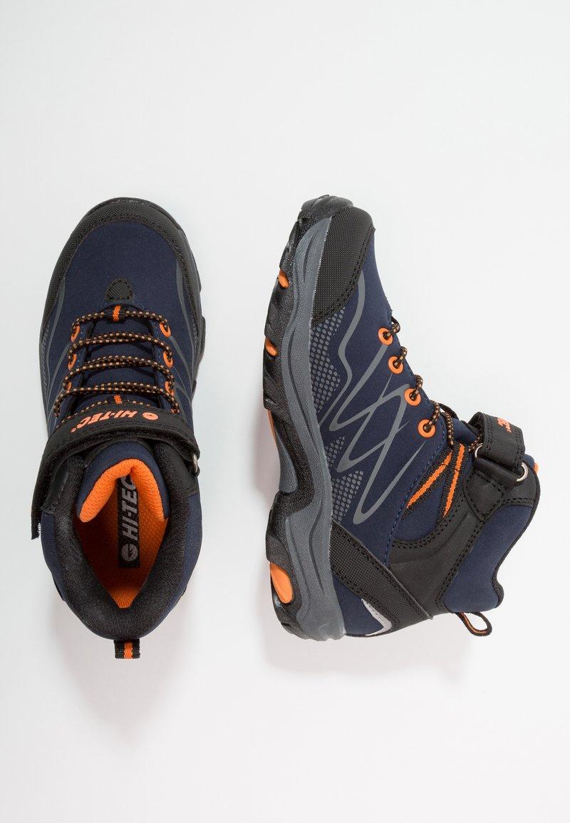 Hi-Tec - BLACKOUT MID WP JR - Hiking shoes - navy/orange
