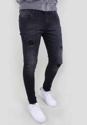 Džíny Slim Fit - black destroyed