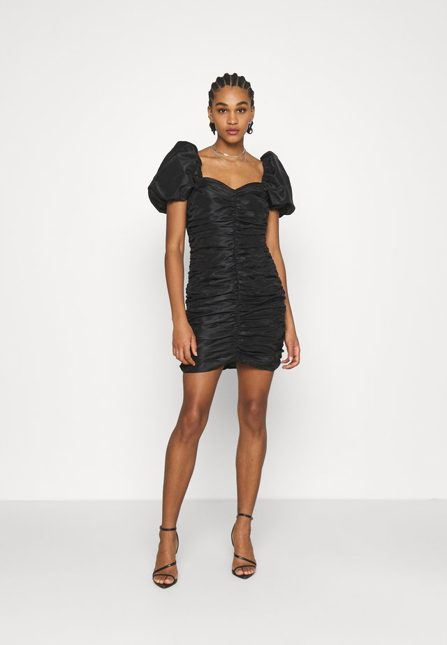 PUFFY SLEEVE DRAPED MINI DRESS - Cocktailjurk - black