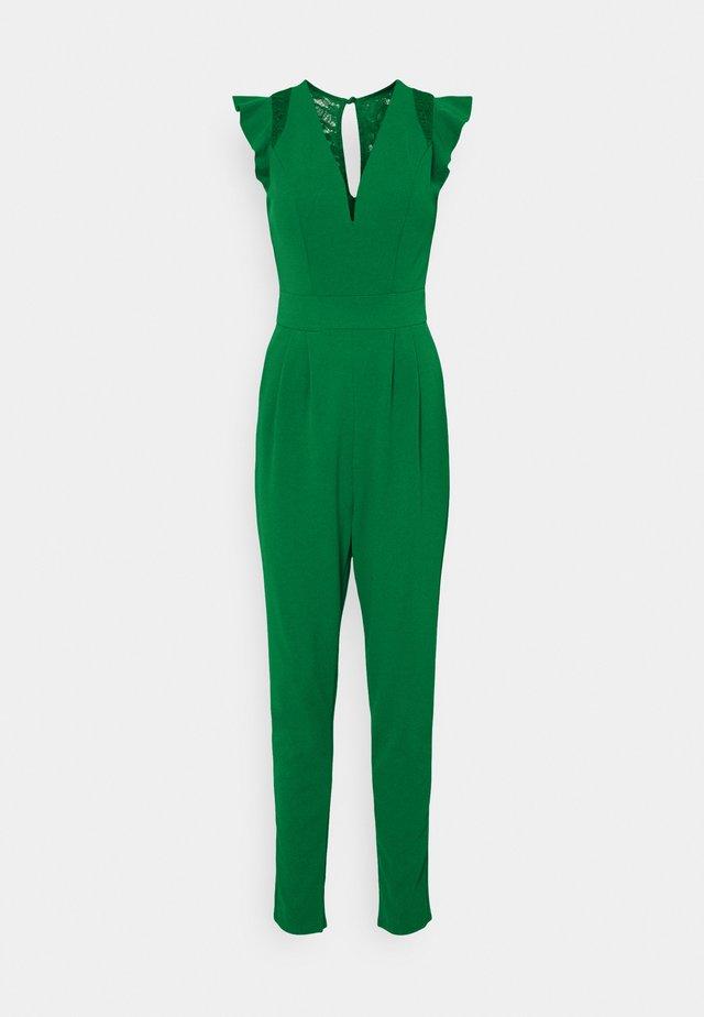 FRILL SLEEVE V NECK - Jumpsuit - leaf green