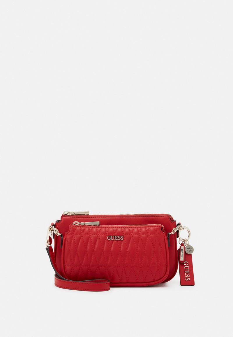Guess - ARIE DOUBLE POUCH CROSSBODY - Across body bag - red