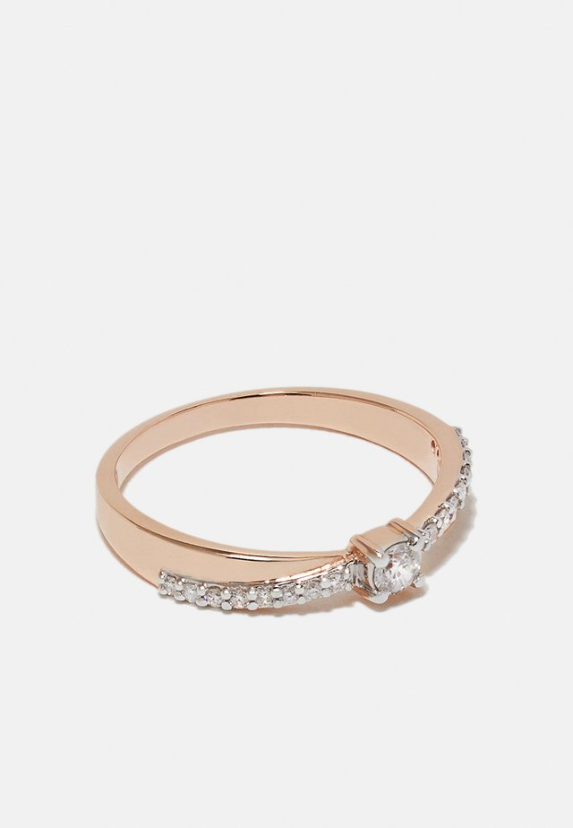 NATURAL DIAMOND RING CERTIFIED 0.2CARAT SOLITAIRE WITH ACCENT DIAMOND RINGS 9KT ROSE GOLD DIAMOND JEWELLERY GIFTS FOR WOMENS - Bague - rosegold